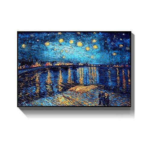 LiangNiInc Berühmte Gemälde Sternennacht von Van Gogh Impressionist Künstler Wandkunst Replikation Poster Dekor Wandbild 50x70cm (19,7'x27.6) Mit Rahmen