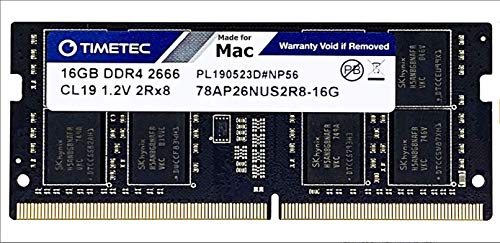 Timetec Hynix IC Compatible with Apple DDR4 2666MHz PC4-21300 SODIMM Memory Upgrade For Mac Mini 8,1 Late 2018 and iMac 19,1 w/Retina 5K 27-Inch Early 2019 (16GB)
