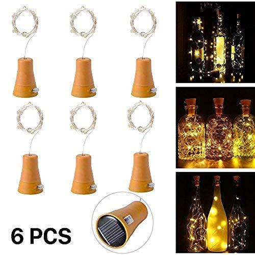 6 Stück 10 LED Solarenergie Flaschenlichter Lichterketten mit 1M kupferner Draht-Form-Stablampe für Flasche DIY, Partei, Hauptdekor, Hochzeit und Halloween (warmes Weiß)