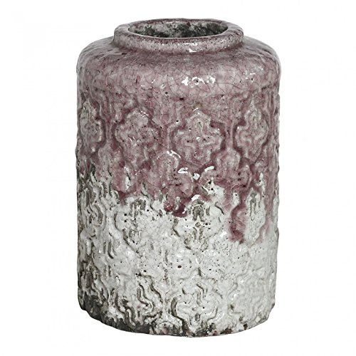 Deko-Vase Übertopf Blumentopf Glasierte Keramik Faded Pink Vintage Faded in Large - Altrosa - Maße: 29.5 x 19.0 x 19.0 cm