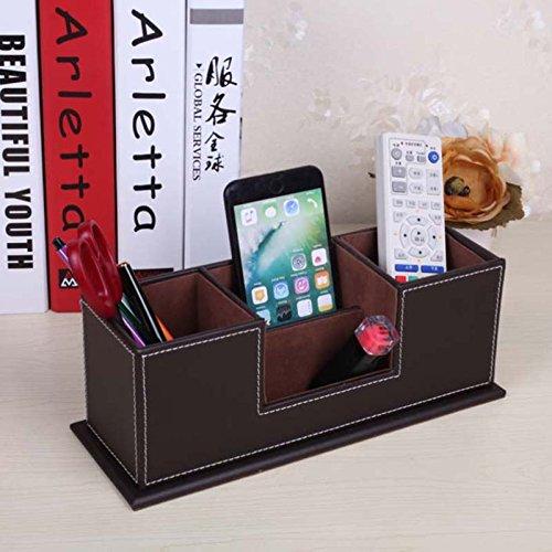 Papeterie Boîte de Rangement Porte-crayons Stylo Carte de Visite Business Cuir PU Organisateur de Bureau Maison (29.5*10.5*11cm, Black)