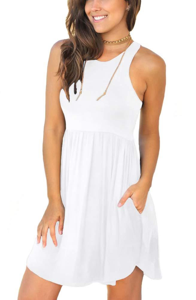 White Dress - Women's Casual Loose Pocket Long Dress Short Sleeve Split Maxi Dresses