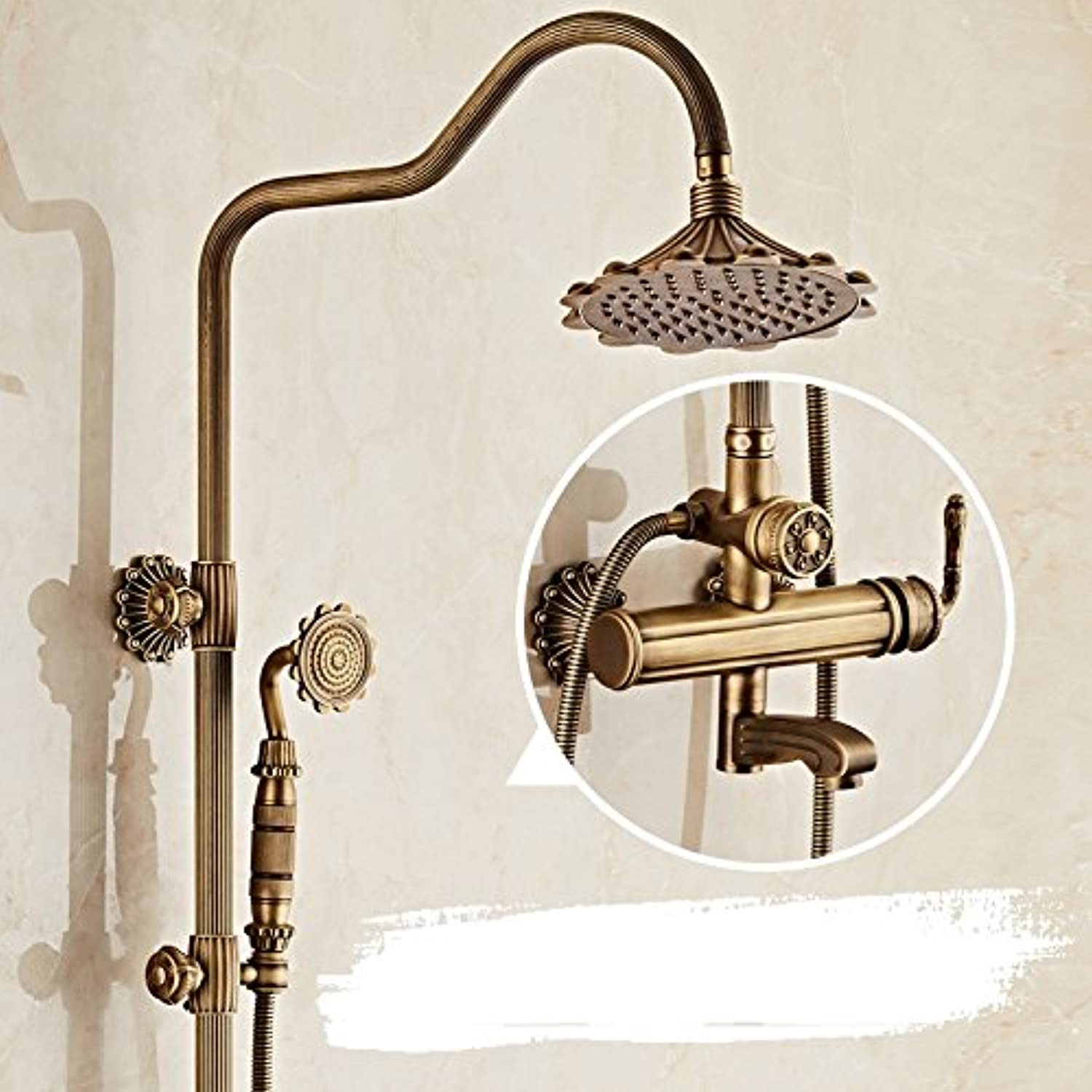 ZXY Copper antique copper shower shower set bathroom home shower shower head lift bathroom shower wall-mounted
