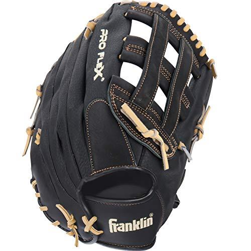 Franklin Sports Pro Flex Hybrid Series Baseball Fielding Glove, Right Hand Throw, 13.5-Inch, Black/Camel