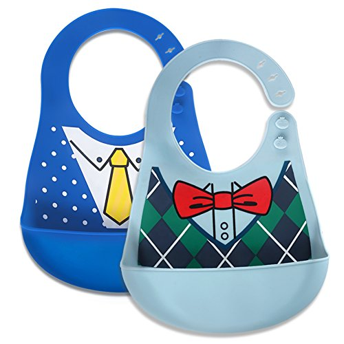Little Dimsum Silicone Baby Bibs Soft and Waterproof Feeding Bibs Keep Stains Off & Easy Wipes Clean for Babies and Toddlers Set of 2?Bowtie/Fashion Suit?