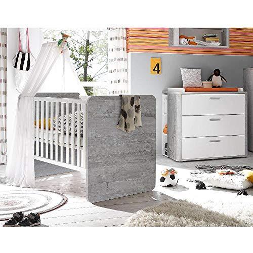 storado.de Babyzimmer f. Zwillinge Frieda Set7 Vintage Wood Grey/weiß matt 5tlg Komplettset