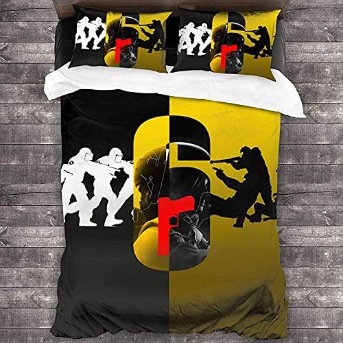 ZSHZSY Rainbow Six Siege - Juego de ropa de cama infantil con 2 fundas de almohada, 135 x 200 microfibra, juego de cama 3D Baller Game (Six 4,140 x 210 cm + 80 x 80 cm x 2)