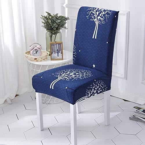 Fundas para sillas Árbol de Plata Azul Spandex Fundas sillas Comedor Lavable Extraíble Funda Muy fácil de Limpiar Duradera Modern Bouquet de la Boda Hotel Decor Restaurante 8/Piezas