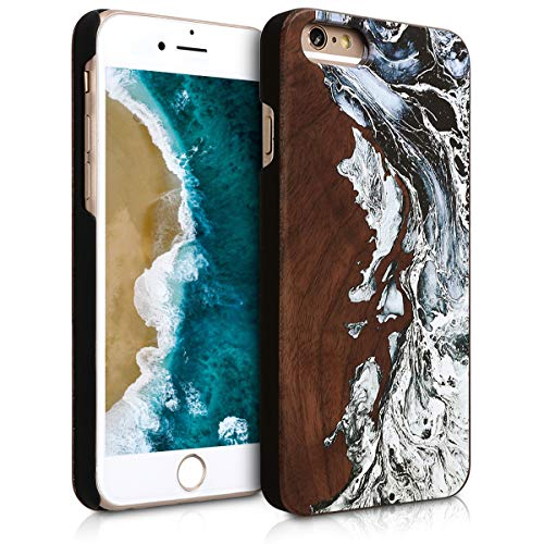kwmobile Wood Case Compatible with Apple iPhone 6 / 6S - Non-Slip Natural Solid Hard Wooden Protective Cover - Watercolor Waves White/Black/Brown