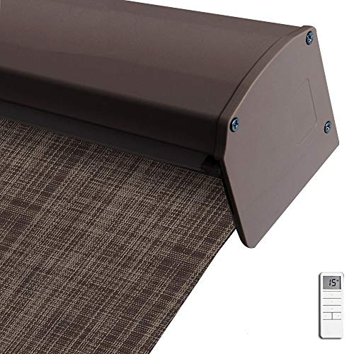 Motorized Blackout Cordless Valance Blinds, Linen Brown Remote Control Wireless and Rechargeable Window Roller Shades with Similar Color Metal Valance, Room Darkening Shades for Windows, Doors
