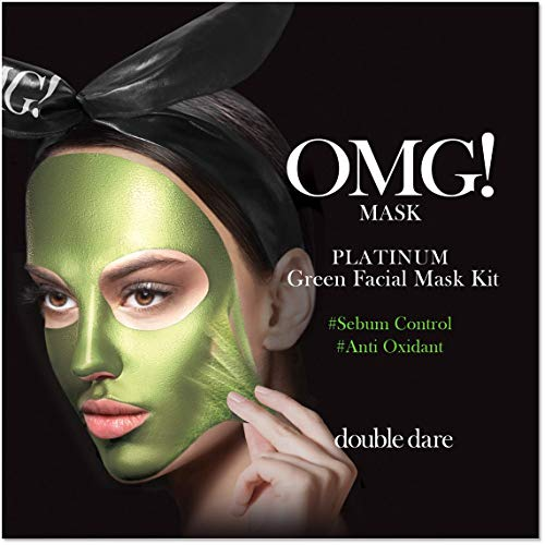 OMG PLATINUM Collection Green | Intensive 3stufige Gesichtskur und Beautyanwendung gegen Mitesser, unreine Haut und verstopfte Poren | Mit Algen, Apfel und Lavendelextrakt angereichert