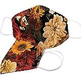 Maske Mundschutz Stoff Herbst Blumen Mund-Nasen-Schutz Behelfsmaske MNS Gesichtsmaske HANDMADE