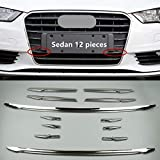 Acero Inoxidable Rejilla de Coches Centro de cuadrícula Cubierta Decorativa del Ajuste fit For Audi A3 8V Sedán 2013-2016 Tiras Frontal de Faros antiniebla Grill Decal (Color : 12 Pieces Sedan)