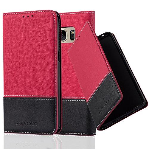 Cadorabo Funda Libro para Samsung Galaxy S7 en Rojo Negro – Cubierta Proteccíon con Cierre Magnético, Tarjetero y Función de Suporte – Etui Case Cover Carcasa