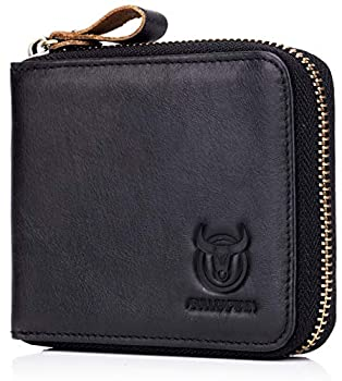 Mens Genuine Leather Zipper Wallet RFID Blocking Bifold Secure Zip Around Wallets Multi Credit Card Holder Purse  black