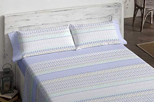 Burrito Blanco Juego de Sábanas de Franela 556 Azul con un Estampado de Diseño de Cenefas en Azul/Juego de Cama 556 para Cama de 105 x 190 hasta 105 x 200, Diseño de Cenefas en Azul, Turquesa y Gris.