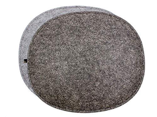 Luxflair 4er Set ovale Filz Sitzkissen mit Füllung in dunkelgrau/Graumeliert, waschbar. Moderne Sitzauflage für Designer Stühle: Side Chair Eames, Fanbyn