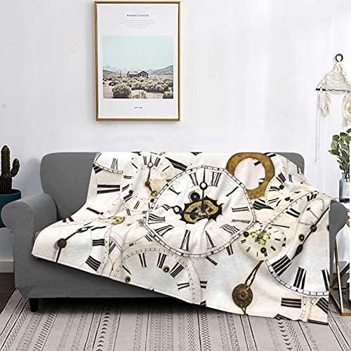 Manta Mantas de microfibra ultrasuaves, colección de caras de reloj clásicas antiguas, hora analógica envejecida, hora, minuto, manta suave y liviana para sofá cama, sala de estar, 50 'x 60'