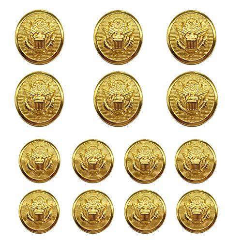 ByaHoGa 14 Pezzi Dorati Bottoni Metallo 20mm 15mm Pulsanti per Cucire Mestiere Materiali Tute Giacche Cappotti Uniforme (MB20110)