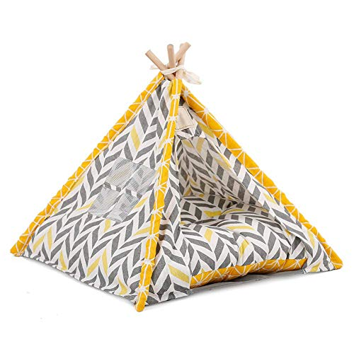 Metyere Pets Teepee Dogs Cats Rabbits Bed Oxford Cloth Linen Portable Pet Tents Houses