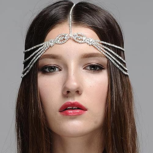 Rongxin Cadena de cabeza de novia para la frente, joyería de novia,...