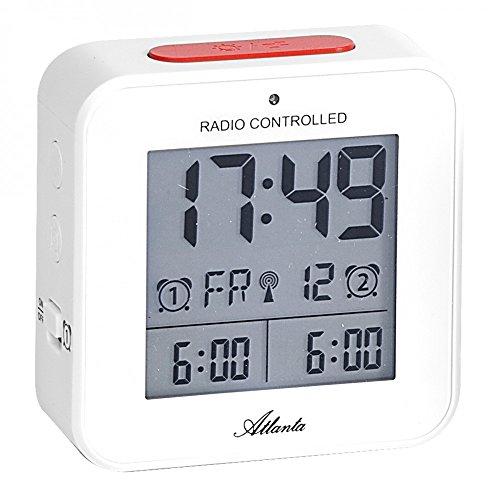 Atlanta Funkwecker Digitalwecker LCD Licht Nachtlicht Snooze Datum Temperatur 2 Weckzeiten Ohne Ticken Weiß - 1880-0