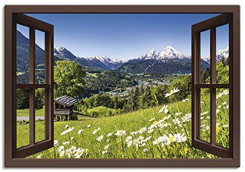 Artland Leinwandbild Wandbild Bild auf Leinwand 70x50 cm Wanddeko Fensterblick Fenster Alpen Landschaft Berge Wald Gebirge Wiese Natur T5TP