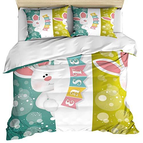 Happy Easter Set di biancheria da letto in 3 pezzi Copripiumino, coniglietto di coniglio Banner pasquale colorato con sfondo a bolle, set di copripiumini da 3 pezzi Dormeuse con chiusura a cerniera pe