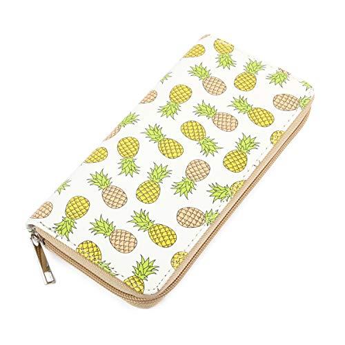 Cute Fruit Print Zip Around Wallet - Purse Card & Phone Donut, Watermelon, Tropical, Ice cream, Pineapple (Yellow Pineapple)