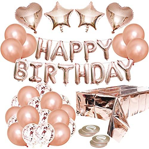 40Pz Decorazioni di Compleanno Kit in Oro Rosa, Oro Rosa Buon Compleanno Banner, Confetti Palloncini, Tovaglia per, palloncini cardiaci, palloncini stellari, per Donna Ragazza Festa Decorazione