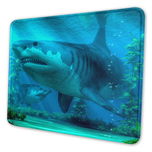 The Biggest Sharkmouse Mat Small Gaming Mouse Pad for Women and Men Waterproof Office Mousepad Non-Slip Rubber Base Durable Stitched Edge Mouse Pad Black 7 X 8.6 In