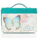 Blue Botanic Butterfly Blessings 'Grace' Bible / Book Cover - Ephesians 2:8 (Medium)