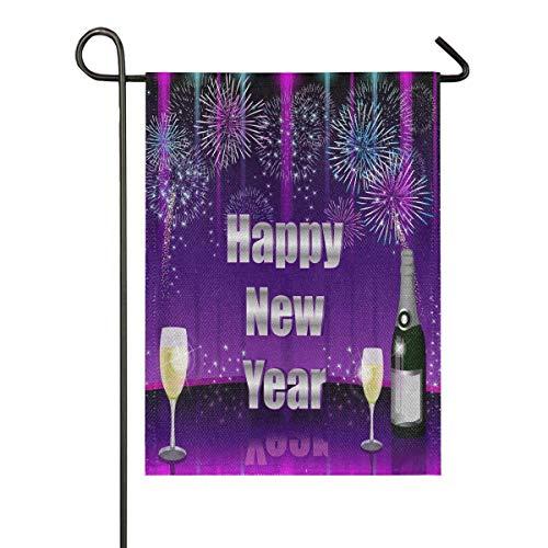 lovely baby-Z Happy New Year Gartenflagge aus Jute, doppelseitig, für Haus, Hof, Urlaub, saisonale Outdoor-Dekoration, 30,5 x 45,7 cm