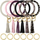 Habbi 6pcs Wristlet Keychain Bracelet with Tassel, Leather Bracelet Bangle Key Ring for Women Girl, 4 Inches