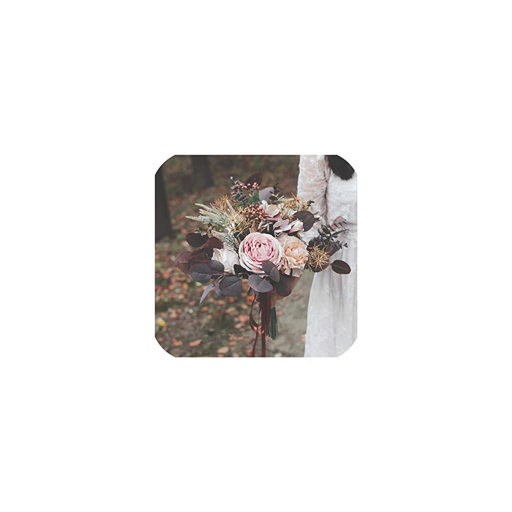 mamamoo Autumn Bridal Silk Flower Bouquet Chocolate Vintage Bride Holding Flowers Artificial Wedding Bouquets Accessories