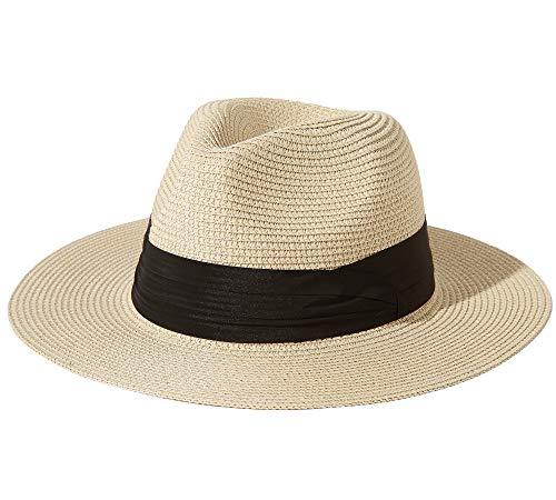 Jastore Panamahut Damen Herren Sommerhut Unisex Strohhut faltbar mit Kinn-Gummi Sonnenhut Schlapphut Sonnendicht UV Schutz (01Beige, L)