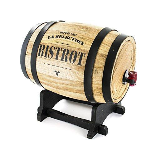 Totally Addict KV7166 Fontaine à Boisson Distributeur avec Robinet Cave Tonneau de Vin Bois et Métal Beige et Gris ou Noir ou Rouge H28 x 22 x 27 cm