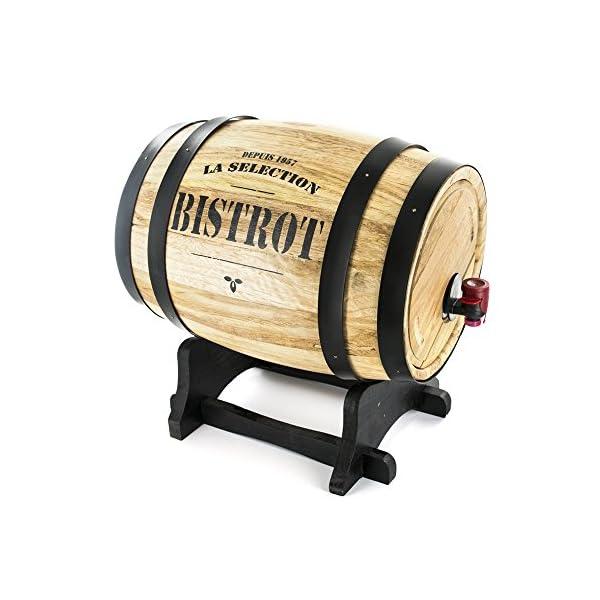 Bistrot KV7166, Dispensador de Vino Barril Madera, Negro 27x 21.5x