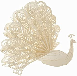Creative 3D Greeting Card Children Handmade Custom Peacock White