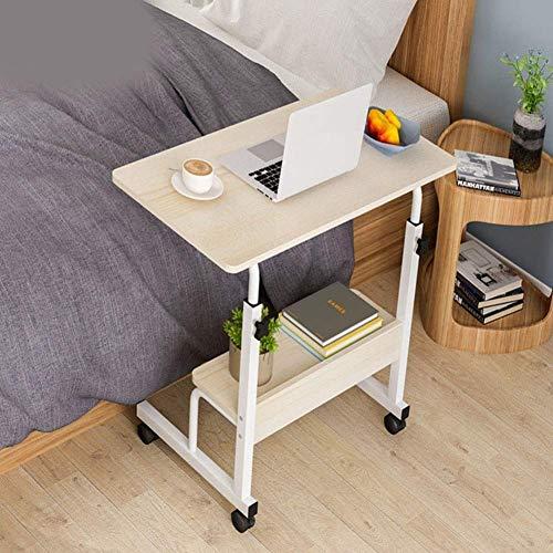 Stolik na laptopa Medyczny stolik z regulacją wysokości, przenośne biurko komputerowe Łóżko Kanapa Sofa Płaska taca boczna na kółkach do użytku nocnego lub domowego, z kółkami/schowkiem W (kolor,