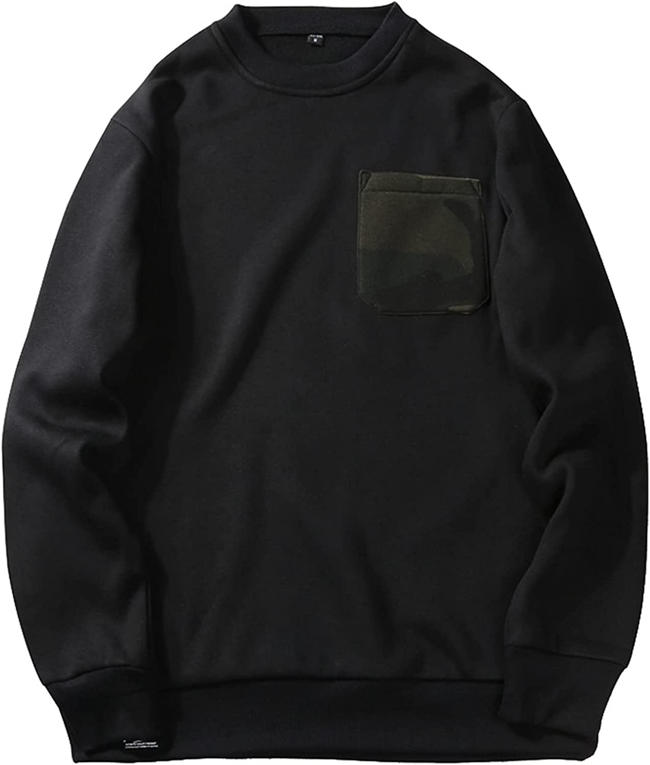 Men's Crewneck Pocket Sweatshirt,Warm Pullover with Camouflage Pockets,Dress Casual Loosely