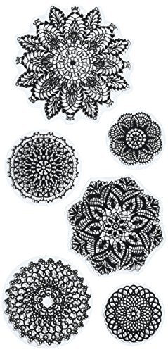 Inkadinkado Decorative Geometric Unmounted Clear Rubber Stamp Set for Cards and Scrapbooking, 4'' L x 8'' H, 6 pc.