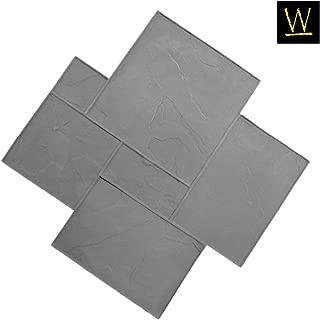 Imperial Ashler Concrete Stamp Single by Walttools | Rotational Decorative Slate Tile Pattern Sturdy Polyurethane Texturing Mat, Realistic Detail (Floppy/Flexible)
