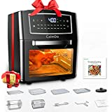 CalmDo Air Fryer Oven Combo 12.7 Quarts, Convection Toaster, Food Dehydrator, 18 Functions to Fry, Roast, Dehydrate, Bake, Reheat, 10 Accessories & Recipe Included, Black