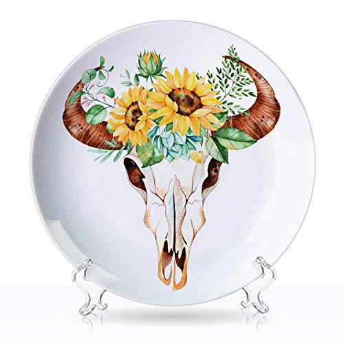 TiiMi Party White Plate Set Watercolor Bull Skull Head with Sunflowers Ceramic Decorative Plate, Art Decoration,8'