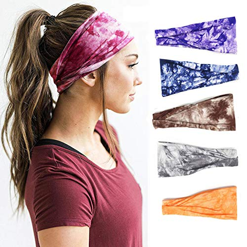 Headbands for Women, Set of 5 Women's Yoga Sport Headbands, Running Sports Cotton Headbands Tie Dye Elastic Non Slip Sweat Headbands Workout Hair Fashion Bands, for Sports Exercise Tennis Outdoor