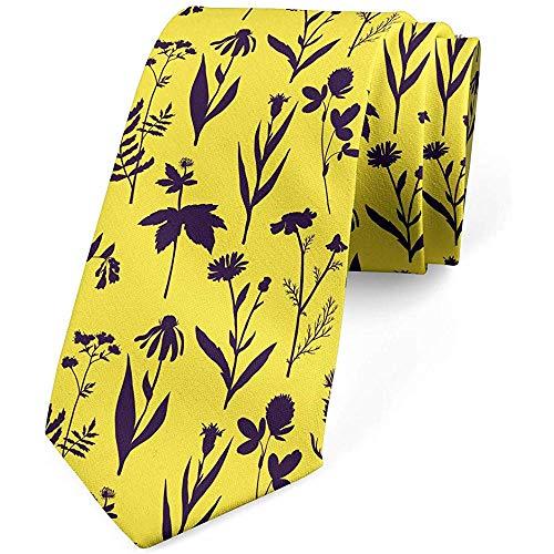 Mathillda De stropdas van mannen, tweekleurige bloemen en kruiden, geel donker paars, perfecte cadeaus voor mode-stropdas