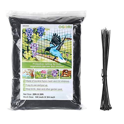 OGORI 25 X 25 ft Bird Netting Poultry Netting Protect Plants and Fruit Trees Garden Net 3/4' Mesh Size