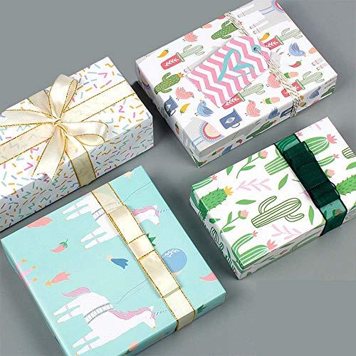 Weihnachts Geschenkpapier, Multipack (8) xBlätter aus buntem Hochzeitsflamingo Einhorn Geburtstagsgeschenkbox Geschenkpapier 50 * 70 cm. (8 Pack)