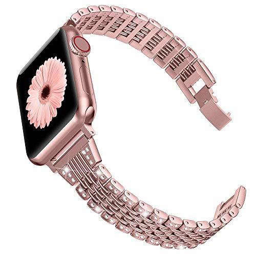 Wearlizer Correa compatible con Apple Watch Correa de 38 mm 40 mm, correa de metal de repuesto para iWatch Series 5 4 3 2 1 – oro rosa 38 mm 40 mm